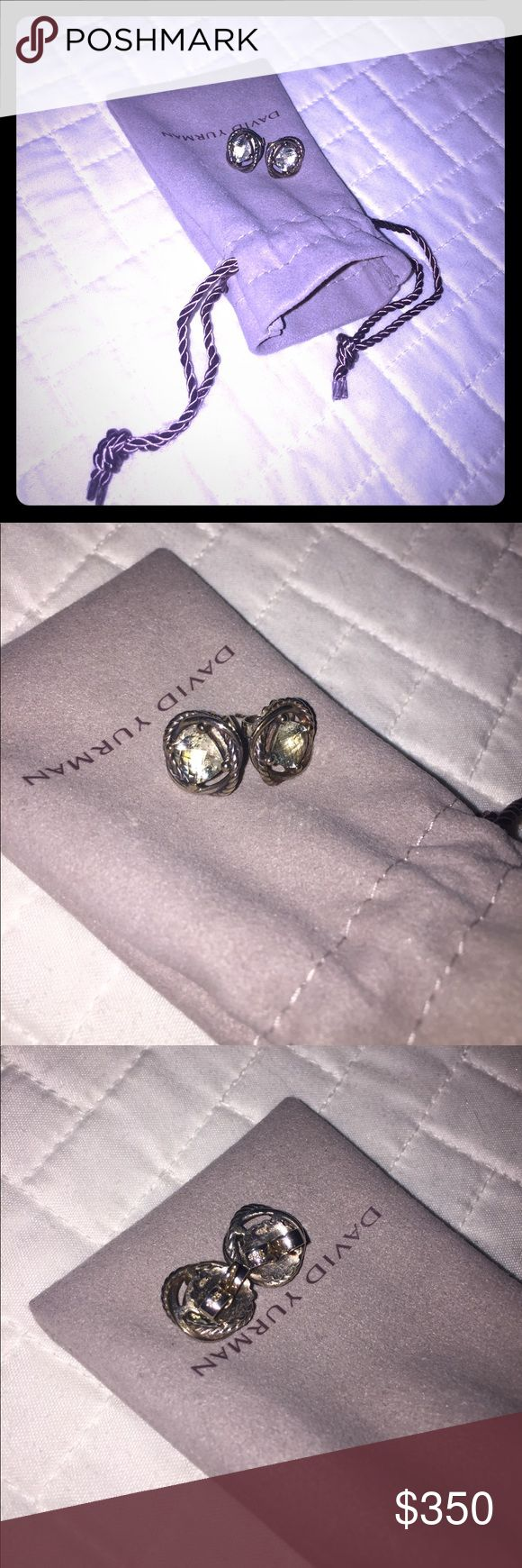 💯DAVID YURMAN 925 SILVER INFINITY EARRINGS Excellent condition, they show minimal to no wear. Soft green prasiolite stone. David Yurman Jewelry Earrings