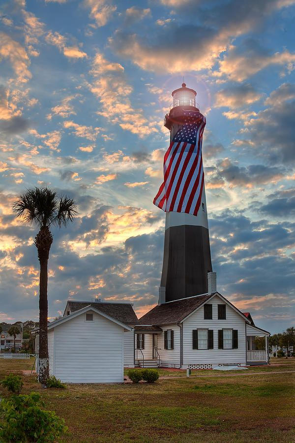 Tybee Lighthouse shot at Sunset with the American Flag, Georgia