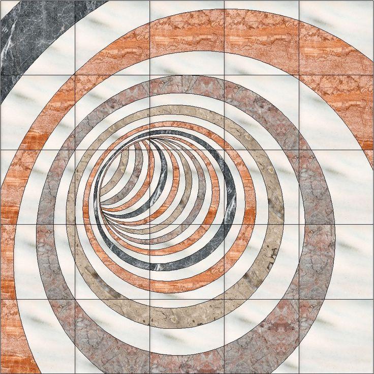 Een andere illusie is de vortex gemaakt van marmer door Margraf natuursteen.