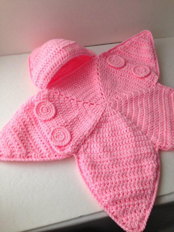 Baby Bunting Bag  Pink Star Bunting  by ShelleysCrochetOle on Etsy