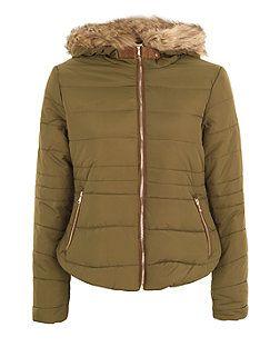 Khaki Faux Fur Trim Padded Jacket | New Look