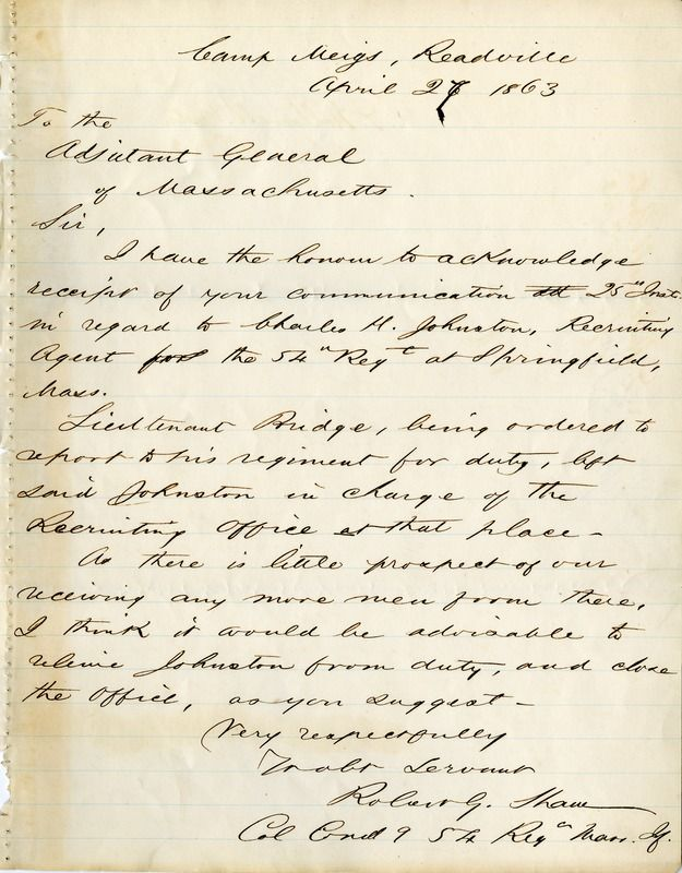 Letter from Colonel Robert Gould Shaw, April 27, 1863