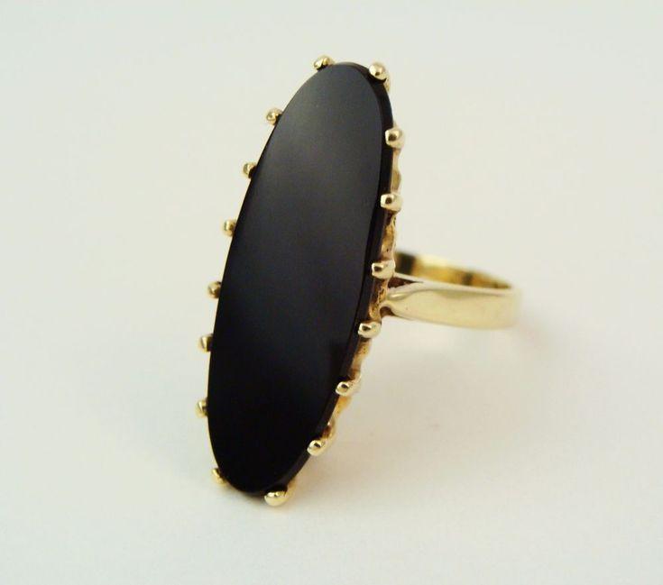 Vintage Modernist 14K Yellow Gold Onyx Ring Sz 6.25 by Hubertus Von Skal RARE   Jewelry & Watches, Vintage & Antique Jewelry, Fine   eBay!
