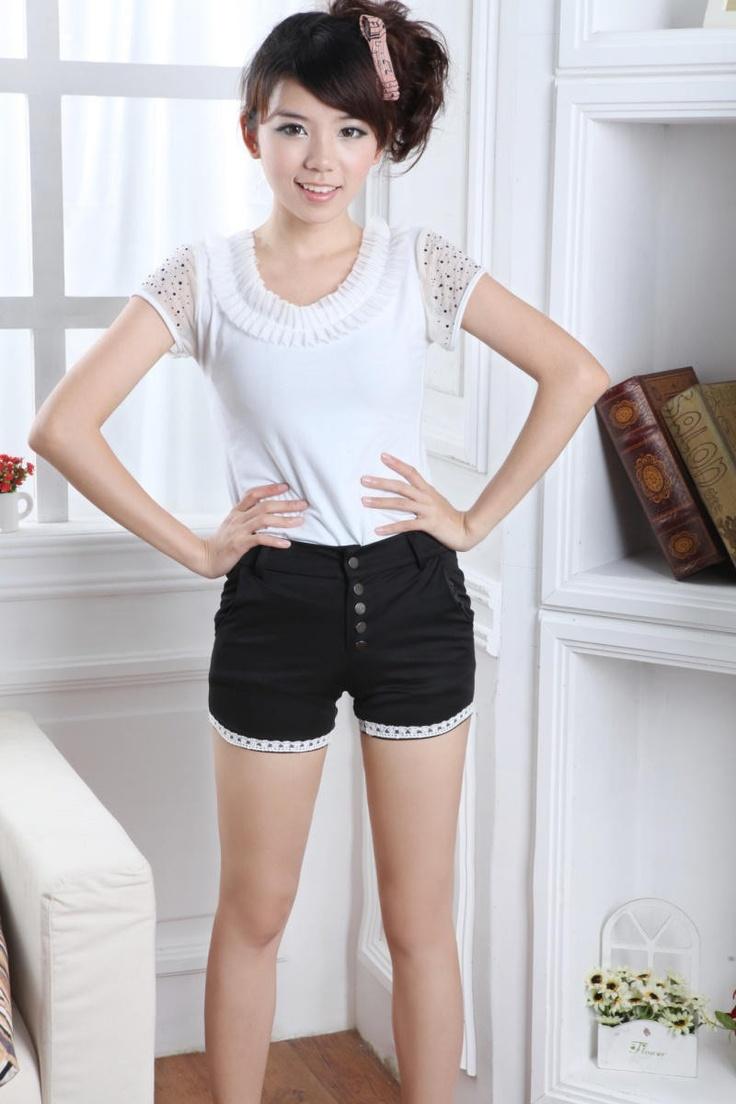 Black Fitted Super Short Korean Fashion Summer Pants