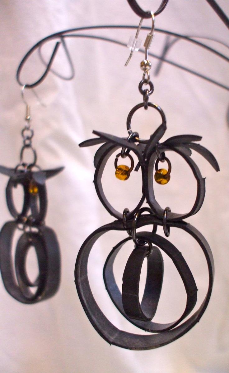 Recycled Inner Tube Owl Earrings by IndieKulture on Etsy