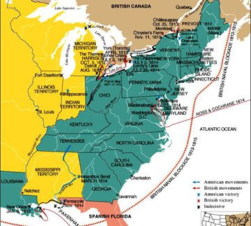Map of Canada and US Territory circa 1812 - The war of 1812 and after