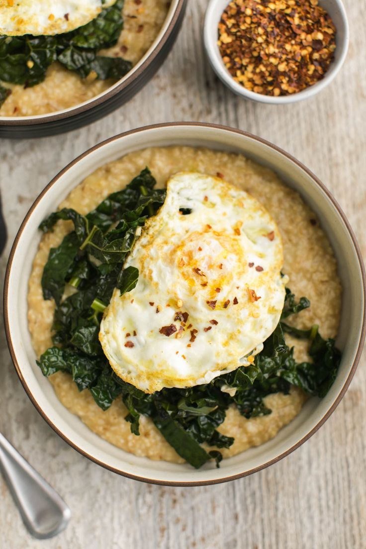 Savory Oatmeal with Garlicky Kale | @naturallyella