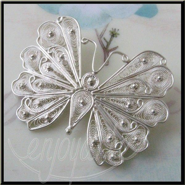 Enjoyarte.com - Silver Filigree Jewelry Butterfly Brooch - Handmade Silver Filigree Jewelry