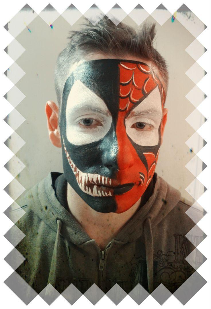 Half venom half Spider-Man- face painting | Spider man ...