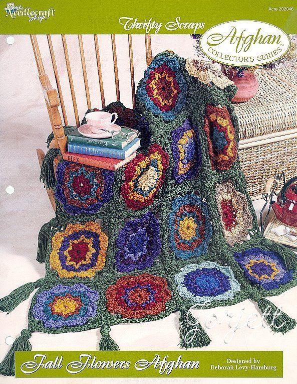 Fall Flowers Afghan, Thrifty Scraps crochet pattern