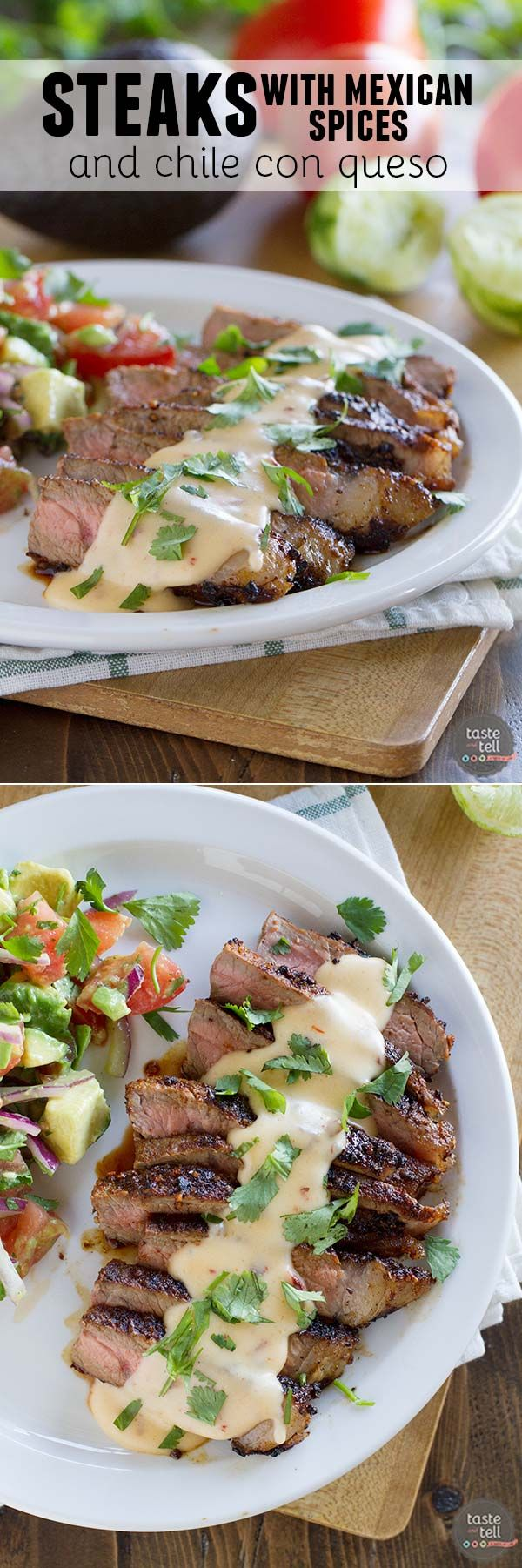 An easy dinner packed with flavor, these Steaks with Mexican Spices and Chipotle con Queso are sure to be a hit with any meat lover.