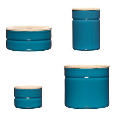 Riess Truehomeware Dottings Vorratsdose Holzdeckel Set Blau Silent Blue