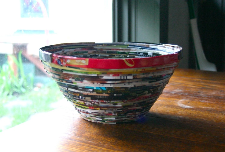 Make a bowl out of old magazines!