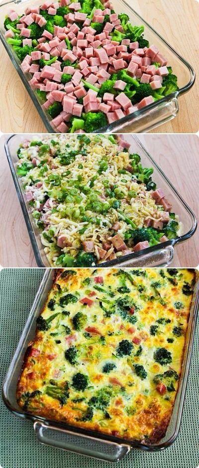 broccoli even KORT blancheren, afgieten en in ovenschaal doen. pakje hamblokjes openmaken en ham ook in ovenschaal doen. half bolletje mozzarella in stukjes plukken, ( voor de smaak kun je een lente ui in stukjes hakken en erbij doen, of een paprikaatje, tomaatje of gewoon uitje, 5 eieren goed klutsen, en daar wat kruiden door doen op smaak, in ieder geval wat peper en zout. 35-45 180 Gr