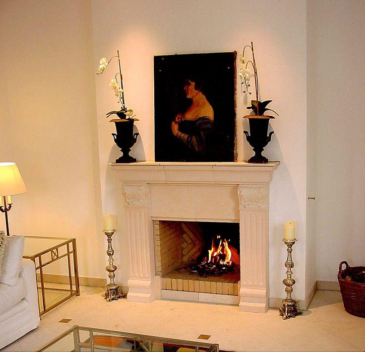 Offner Kamin beige cotto #Kamin #Ofen #Fireplace www.ofenkunst.de