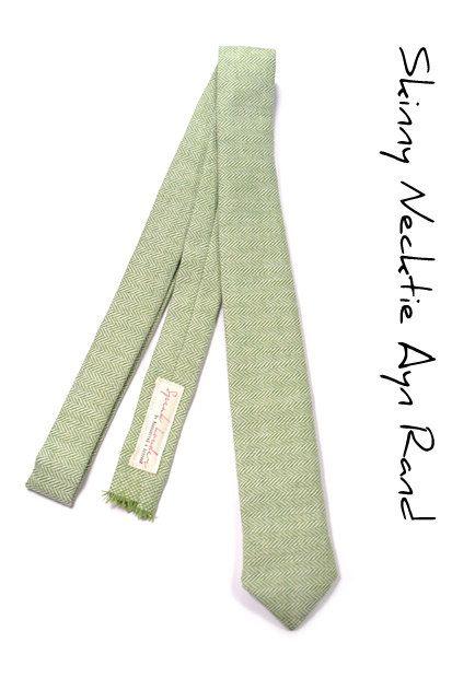 Wedding Mens Tie Skinny Necktie Ayn Rand- Laid-Back necktie- green wool