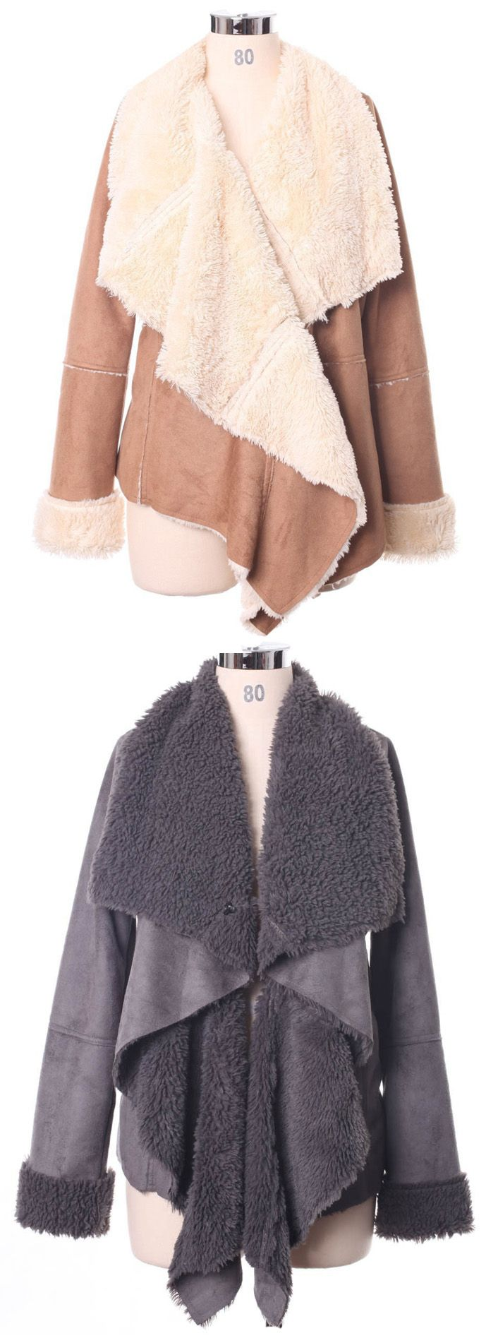 autumn, winter drape shearing jacket for women