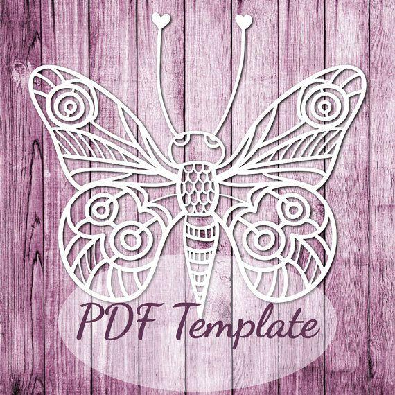 PaperCut šablon PDF 'Butterfly' tisk PDF Cut Your Own