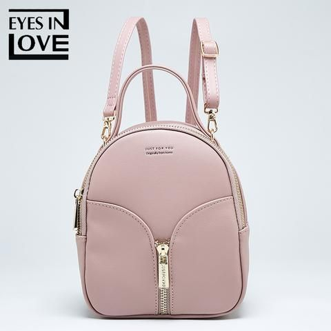 b14be9e861 Eyes In Love small Leather backpack female new design women school backpack  for Girls fashion zipper shoulder bag lady mochila