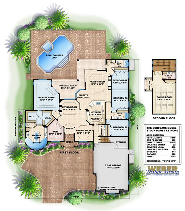 Mediterranean house plan bordeaux house plan weber for Weber house plans
