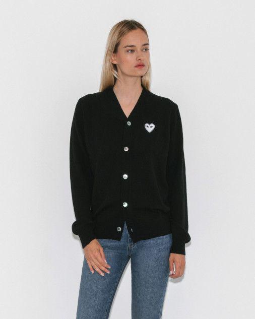 061e95f9369b Comme des Garçons Play Oversized V-Neck Cardigan in Black + White Heart