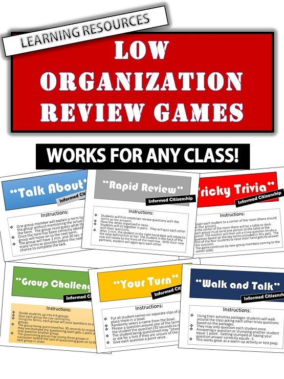 Students sit too much - they need to move more. Each of these games are very active. Included are ten low organization review games. These games can be applied to any class. All you need to do is come up with a set of terms from your particular subject. These activities are based on research done by Dr. Richard Cash. He concludes that every 10 - 20 minutes students should be doing something where they have to move around.