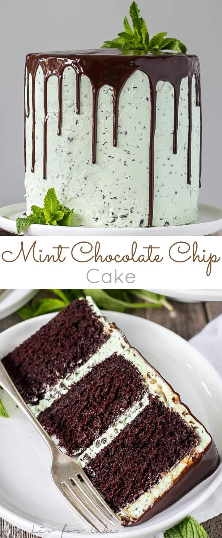 This Mint Chocolate Chip Cake is a mint lover's dream! Layers of decadent chocolate cake topped with a silky mint chip buttercream. | livforcake.com via @livforcake Come and see our new website at bakedcomfortfood.com!