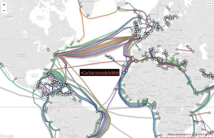 La respuesta es: más de 1,000 millones de metros de cables submarinos de internet, tipo fibra óptica atraviesan los océanos.