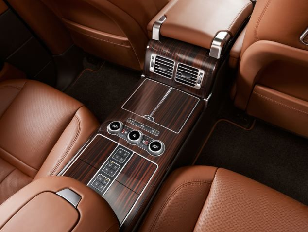 The new 2014 Range Rover - sumptuous interior will feature custom leather and wood trim along with mood lighting and programmable settings for each seat