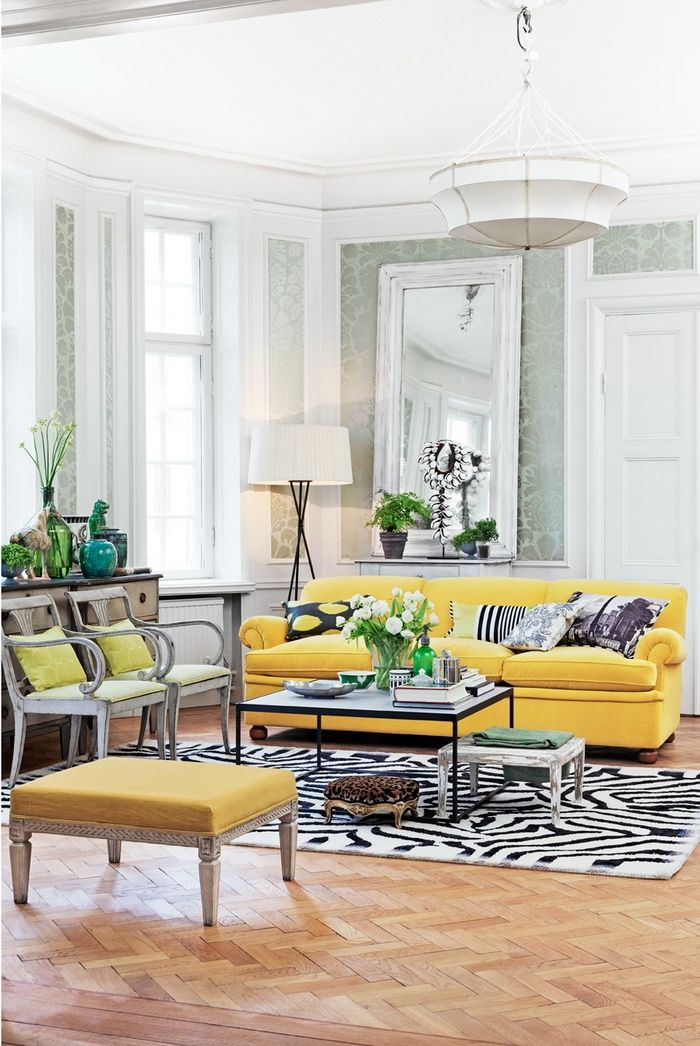 Yellow Couch And Zebra