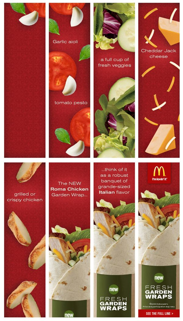 McDonald's Garden Wraps Banner Ads by Karli Kujawa, via Behance