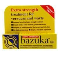 Bazuka Extra Strength Verruca and Wart Remover Gel 5g by Bazuka. $9.35. Complete Treatment Kit With Special Applicator, Emery Board And Instructions.[Tab_Directions]Adults, Children And The Elderly: Apply 1 Or 2 Drops Of Gel Daily, And Rub Area With Emery Board Once A Week. No Plasters Necessary. Removal Can Take Several Weeks.[Tab_Ingredients]Active Ingredient: Salicyclic Acid 26%W/Walso Contains: Camphor Povidone, Pyroxylin, Ethanol, Acetone [Tab_Warnings]Do Not Use...