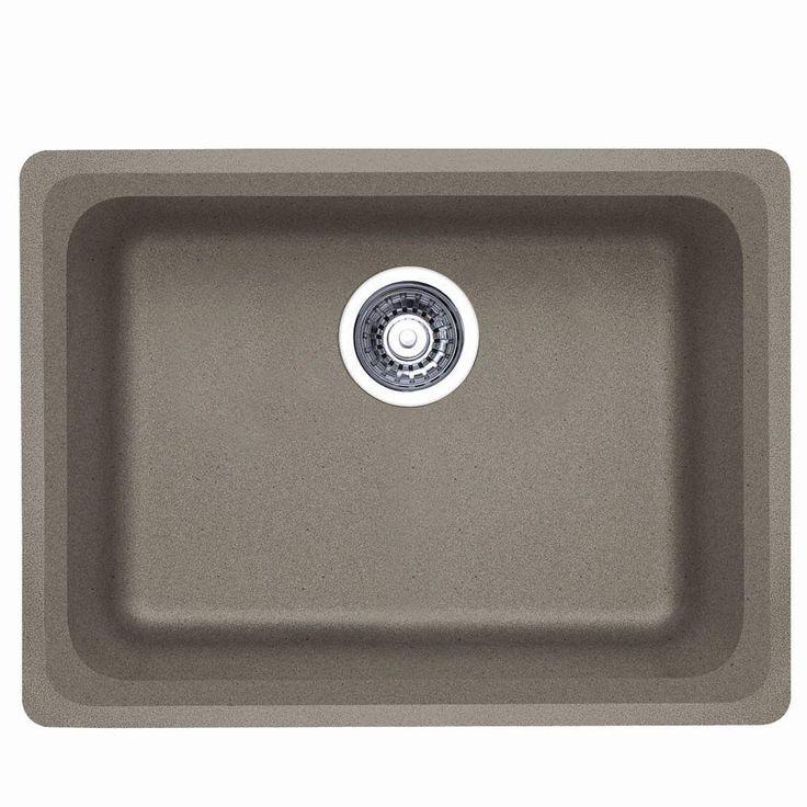 Vision Undermount Granite Composite 24 In. Single Basin Kitchen Sink In  Truffle