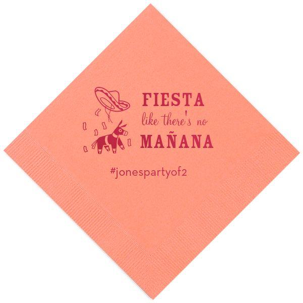 Fiesta Like There's No Mañana Personalized Wedding Napkins -   - Pink Poppy Party Shoppe - 1