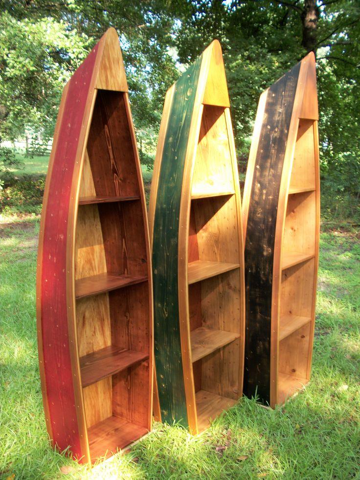 Boat Bookshelf Bookcase Distressed Design Boat Shelf Canoe