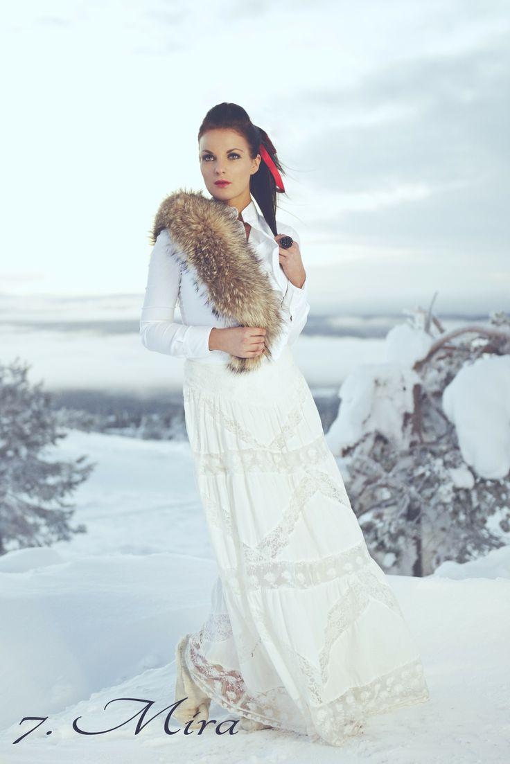 Our raccoon collar on lovely Miss Helsinki 2014 contestant Mira. www.misshelsinki.fi/