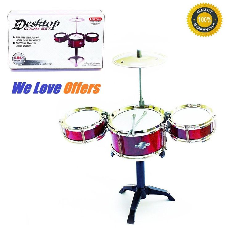 4-In-1 Kids Drum Set Musical Instrument Red Children Music Playset Band Play Toy #DrumSet
