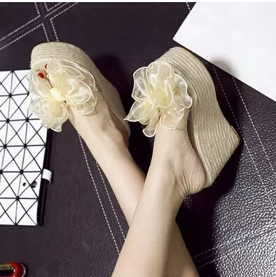 Summer Plastic Sandals Women Crystal Bow Slippers Straw Platform Wedges Shoes Female Flowers Chaussure Femme Ladies Shoes