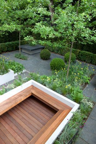 Seating, raised beds and zoned areas