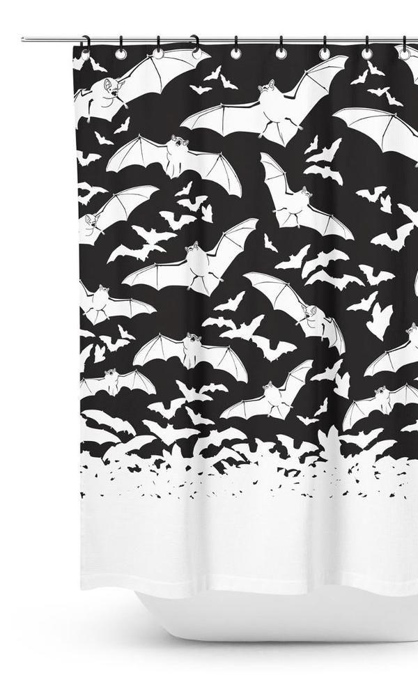 Spooksville Bats Shower Curtain Goth Home Decor Curtains