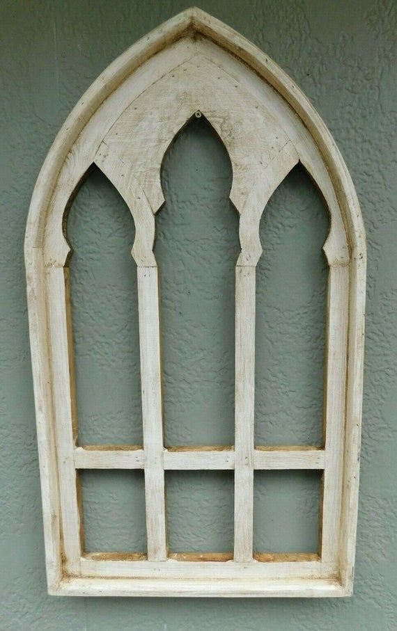 Wooden Antique Style Church Window Frame Primitive Wood Gothic Etsy In 2020 Wooden Window Frames Window Frame Church Windows