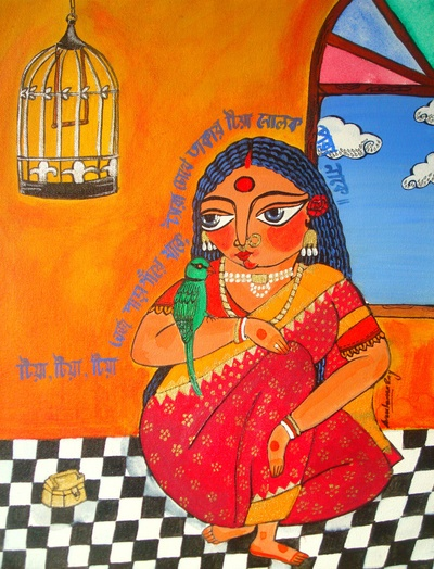 """This is an illustration based on a Bengali song/rhyme, which is incorporated in script within the painting. The script roughly translated means, """"my little parrot, she comes from a quaint little village. She looks at me from the corner of her eyes and her nose ring glitters"""" """"Tia"""" is the Bengali word for parrot."""
