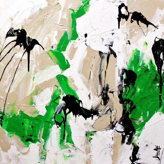 Great green abstact painting ''Espoir intuitif'' par julienaube, $325.00
