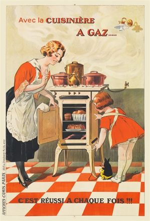 Cuisiniere a Gaz Dorfi 1920 France - Beautiful Vintage Posters Reproductions. French poster features a mother and daughter opening a gas oven to check their bread and roast.  Giclee Advertising Print. Classic Posters