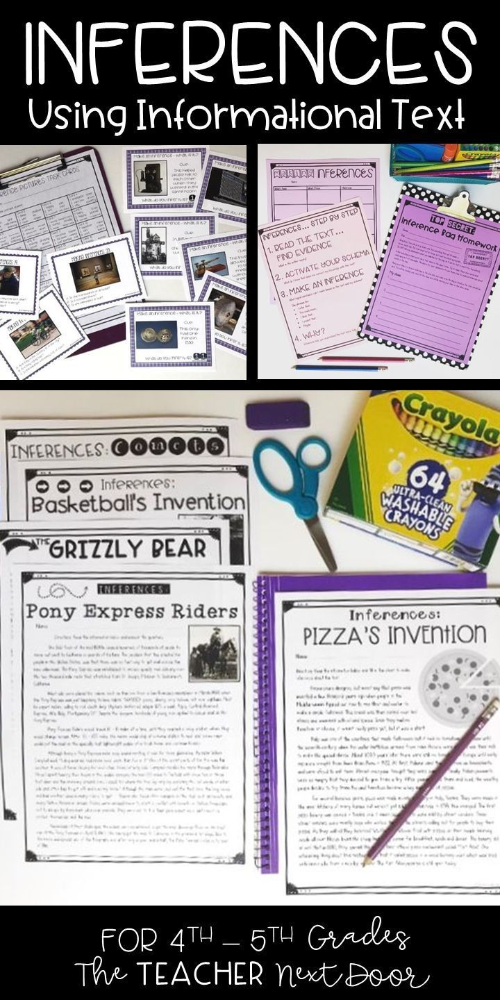 Inferences Using Informational Text 4th And 5th Grade Inferences The Teacher Next Door Informational Text Inference Activities Inference