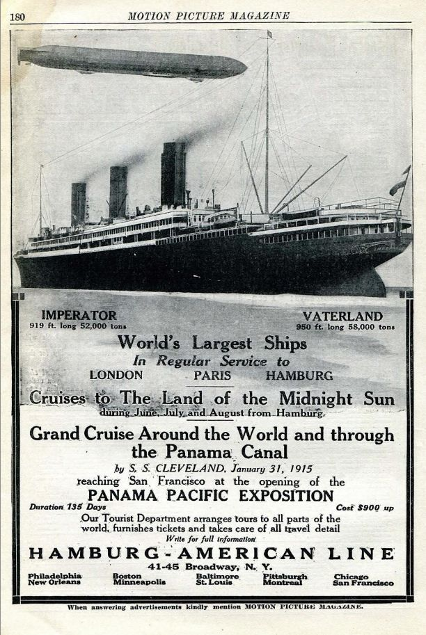 Vintage Advert for Round the World Cruise - pictured SS Vaterland (Leviathan) & Zeppelin Airship - MPM May 1914 | Flickr - Photo Sharing!