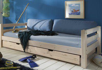 Nieuw de Thijs grenen bed met grote slaaplade 90x200 gemaakt van vurenhout in beits wit. Het super degelijke bed heeft 1 grote lade op wielen die super groot en handig is.   Buiten maten: H 64 x B ...