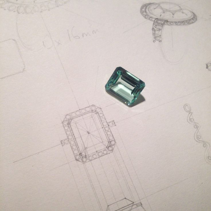 Emerald cut green beryl, soon to be set in a ring of white gold and diamonds in an Art Deco style setting.