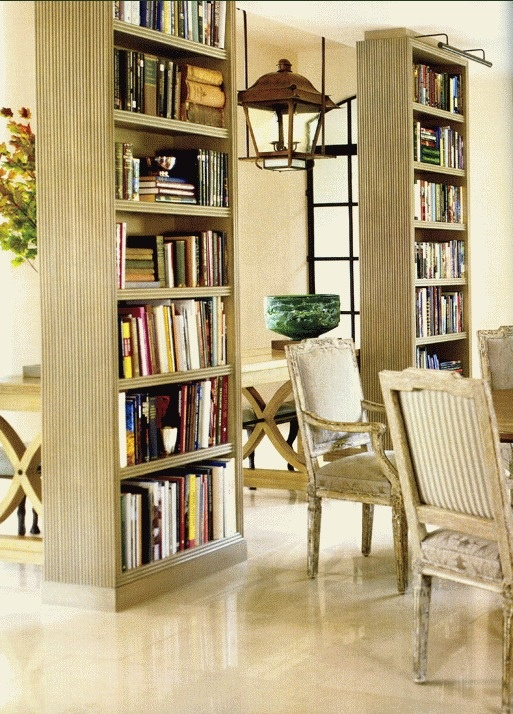 Love the floating bookcases. Iu0027ve done this. Bookcases are a great room