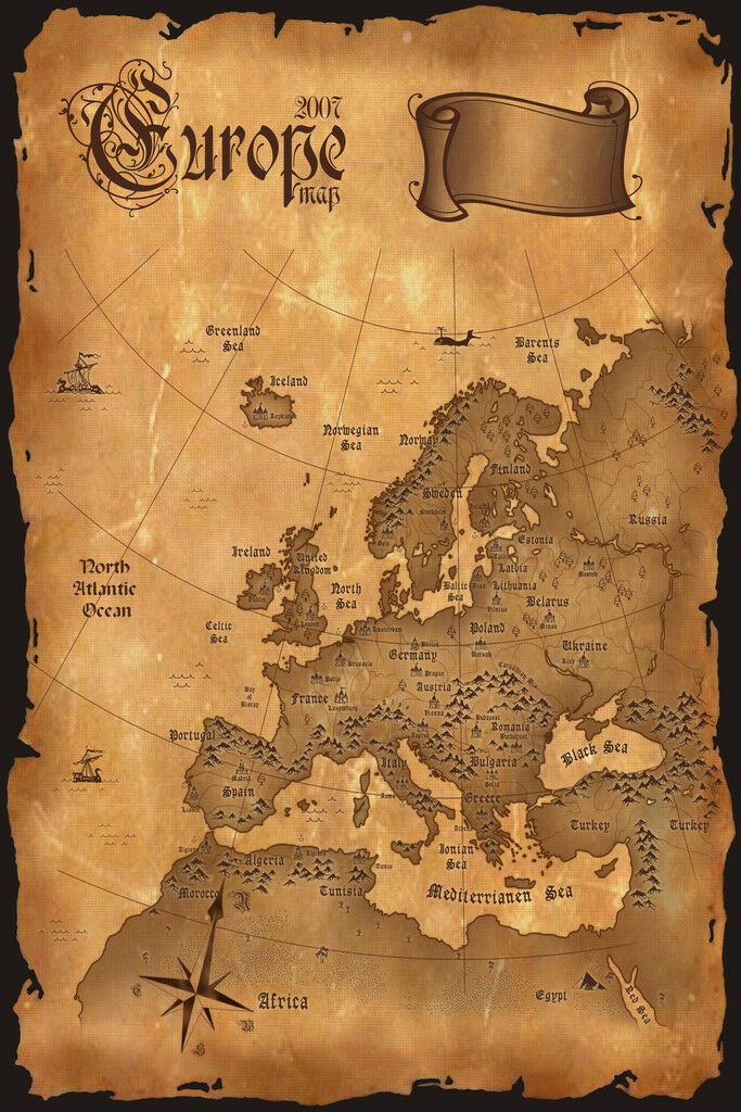 Europe Vintage Antique Style Map Poster 12x18 Inch 718472524749 Ebay Europe Map Ancient Maps Vintage Maps